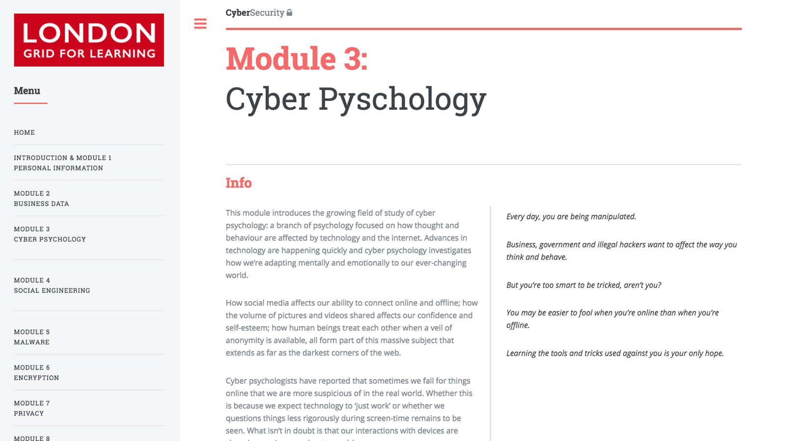 CyberSafe summary page - London Grid for Learning